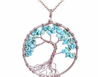 Chakra Tree Of Life, Pendant Necklace, Copper Crystal, Natural Stone Necklace,Tree of Life Necklace Pendan,Tree of Life Pendant Necklace
