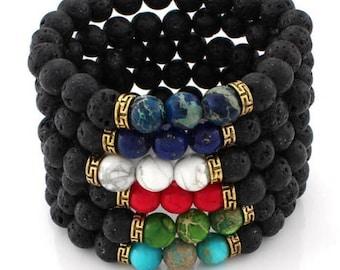 7 Chakra Healing Bracelet with Volcanic Lava, Mala Bracelet Meditation Bracelet - Chakra Gemstone Necklace, Seven Chakra