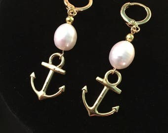 Gold ANCHOR Earrings, REAL Pearls, Reproduction 18th and 19th century FRESHWATER pearl earrings, New, lovely glowing teardrop Real pearl