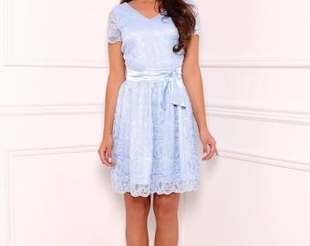 Light Blue  Lace Mini Women's Dress V Neckline Mini Sleeves