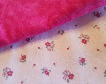 Dainty pink flowers on a light pink background with complimenting dark pink burp cloths (2)