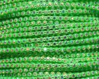 SS8 Neon Green Rhinestone Banding with an AB Stone - Sold by the yard