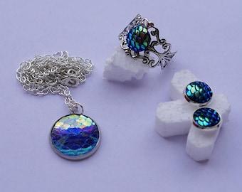 Mermaid Dragon fish necklaces Vintage style choker Cute Filigree silver