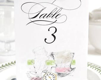 Alice in Wonderland Table Numbers, Fairytale Wedding, Disney Table Numbers (1-10)