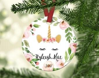 Girl's Unicorn Christmas Ornament. Unicorn Ornament.Unicorn.Christmas ornament.Personalized christmas ornament.Baby's first Christmas.