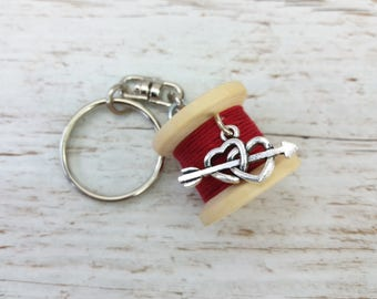 Cotton Anniversary Gift - 2nd Anniversary Cotton - Cotton Reel Keyring - Sewing Gifts - Keychain Charms - Keychain - Keyring - Heart Charm