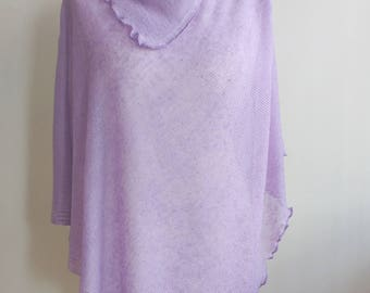 Lilac linen poncho - oversized linen shawl - summer poncho - boho shrug - women knit cape - plus size over up - loose knit - linen knitwear