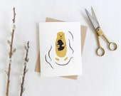 Otter Greeting Card in Gold / Father's Day / Mother's Day / New Baby Greeting Card