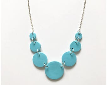 """Turquoise circle necklace - handmade with polymer clay on nickel free chain 18"""""""
