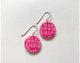Pink on pink spider matrix print earrings - handmade with polymer clay and sterling silver