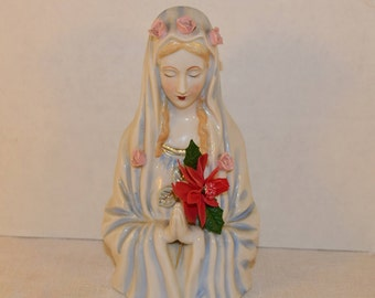 Virgin Mary Head Vase Praying Madonna Bust Vase Vintage Porcelain Religious Mary Figurine Mother Mary Figurine Shabby Chic Bud Vase