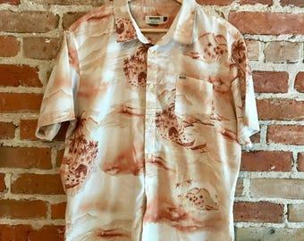 Retro Men's Rip Curl Short Sleeved Buttondown with Island & Beach Print, Size XL