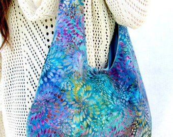 Hobo Bag Purse, Medium Size Fabric Tote Bag, Over The Shoulder Batik Bag, Beach Bag, Hippie Bag.