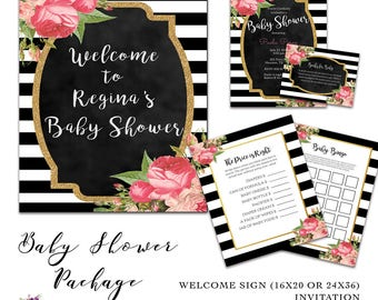 Baby Shower Invitation Package - Kate Spade Inspired - Welcome Sign - Baby Shower Games - Book Request - Black White Stripes - Pink Floral