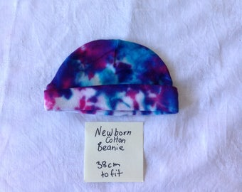 Hams Tie Dye newborn baby cotton beanie hat blue and red