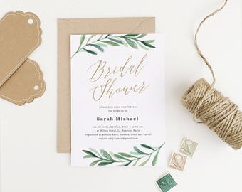 Bridal Shower Invitation, Printable Bridal Shower Template, Greenery Bridal Shower, Edit in Word or Pages