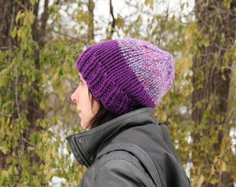 Purple striped hat, purple hat, Hand knit hat, beanie, women's winter hat, gift for her, Christmas gift