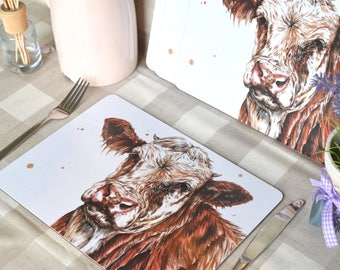 Simmental cow  Set of four placemats