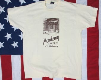 Vintage 1980's Academy Tavern of Cleveland Ohio 50th Anniversary T-Shirt Large/XL Beige Screen Stars Best Soft Thin Bar Club Restaurant