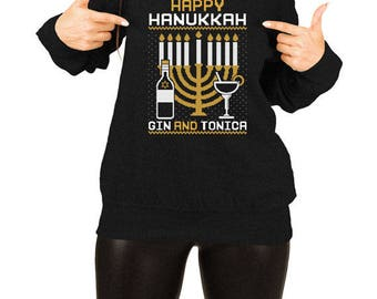 Hanukkah Slouchy Sweater Jewish Clothing Hanukkah Gifts For Women Gin And Tonica Chanukah Gift Ideas Jewish Holiday Chanukah Presents TEP384