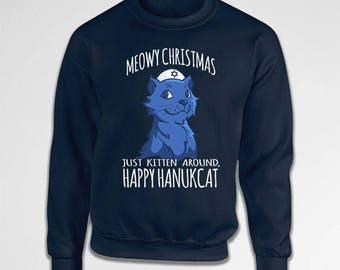 Funny Holiday Sweater Hanukkah Gifts For Cat Lovers Jewish Sweatshirt Holiday Present Meowy Christmas Happy Hanukcat Hoodie Pullover TEP-527