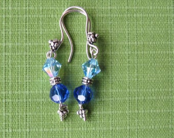 Blue crystal and antiqued silver dangle earrings