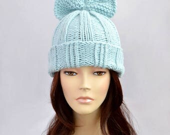 Hat Knitting Pattern // Bow Hat Pattern, Woman Hat with Bow, Knit Hat, Beanie, Knit Beanie, Bonnet Femme, Girls Gift, Winter Hat Pattern
