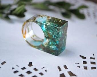 resin ring gift for her birthday gift womens gift boho ring moss ring clear ring green moss resin jewelry resin flower ring teen gift ideas