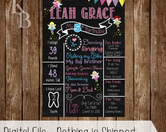 Fairy Birthday Party - Fairy Chalkboard - Birthday Poster - First Birthday - Chalkboard Poster - Birthday Chalkboard - 1st Birthday