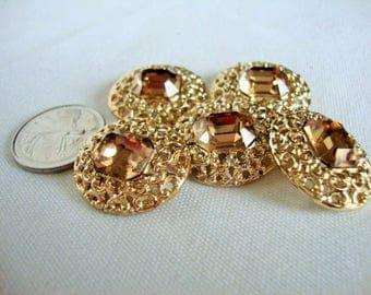 5 Buttons, Gold Metal Jewel Buttons, Amber Jewel Buttons