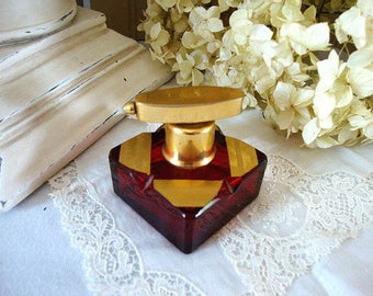 Atomizer Perfume Bottle Red Ruby Glass & Gold 1940's
