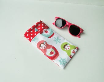 "Glasses case ""Russian dolls"" for children in cotton and polar white"