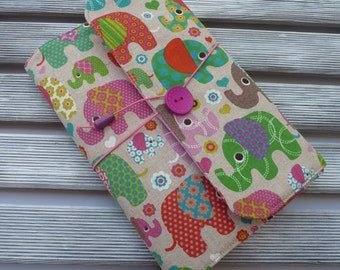Fabric book cover, Padded book sleeve, Elephants Book sleeve,  Book pouch, Hardback book cover, Booklovers, gift for her, elephants fabric