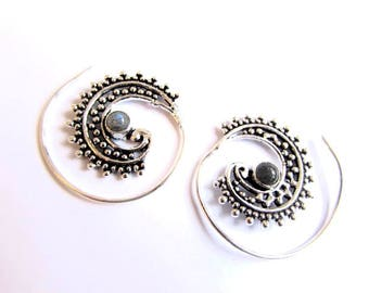 White Brass Small Dotted Design Spiral Earrings Labradorite Gemstone Tribal Earrings Mandala Jewellery Free UK Delivery Gift Boxed WB62 WBS1