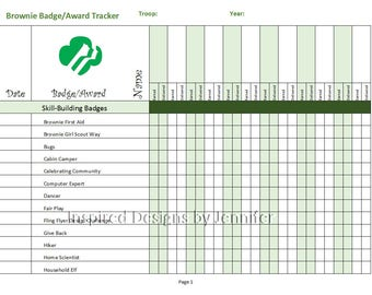 Brownie Girl Scout Badge/Award Tracker Instant Download Printable- Updated with New Badges!!