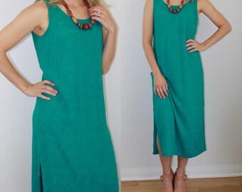 SUMMER SALE Vintage 90's Teal Blue Green Loose Breezy Summer Dress S
