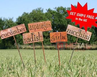 Set of 13 Classic Metal Garden Markers, garden marker, vegetable marker, plant stakes, edible landscape, organic gardening, garden gift set