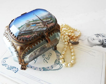 Antique French Jewelry Box Paris French Trinket Box Beveled Glas Eiffel Tower