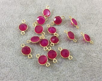 BULK LOT - Pack of Six (6) Gold Vermeil Pointed/Cut Stone Faceted Round/Coin Shaped Fuchsia Chalcedony Bezel Connectors - Measures 7mm x 7mm