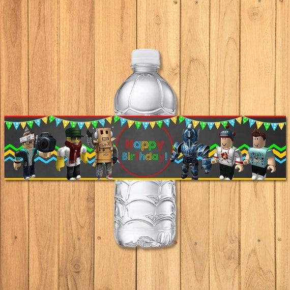 Roblox Drink Label Chalkboard Water Bottle Party Favors Birthday