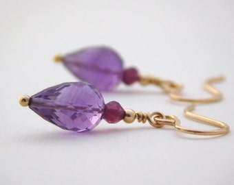 Amethyst, Garnet and Gold-filled Earrings, February Birthstone Earrings, Gemstone Earrings, Purple Earrings, Birthday Gift, UK Jewellery