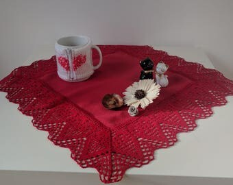 Natural linen-cotton tablecloth handmade red with hearts/table runner/table cover 47x47 cm or 50x50 cm