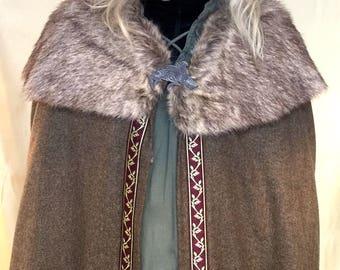 Cerunnos Harris Tweed and Fur Trimmed Pagan Druid Shaman Lord of Rings Cloak