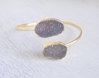 Druzy Bangle Bracelet, Gray Druzy Bangle, Natural Stone Bangle, Gold Bangle, Adjustable Bangle, Crystal Bracelet Stack Bracelet, Gift G5-710