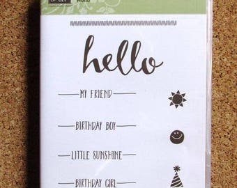"SU! ""Hello"", Retired, Cling Mount Stamp Set"