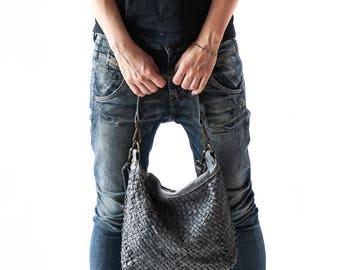 Woven Bag, Woven Leather Bag, Vintage Woven Bag, Woven Crossbody Bag, Woven Boho Bag, Woven Shoulder Bag, Art Woven Bag, Original handbag