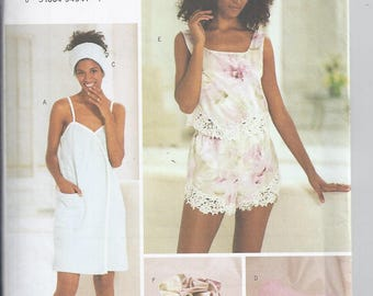Butterick 3349 Pattern from 2001.  Misses Towel Wrap, Slippers, Head Wrap, Pillow, Camisole, Shorts & Bag.  Bust  30 1/2-32 1/2  UNCUT