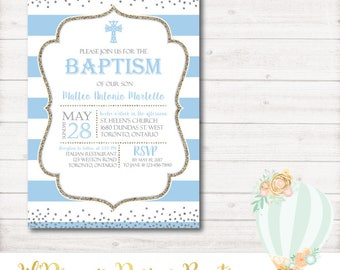 Baptism Invitation, Baby Blue, Glitter, Silver, christening, communion, religious, printable. digital, watercolor, confetti, PDF