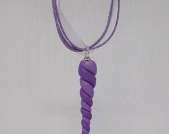 purple lavender unicorn horn necklace