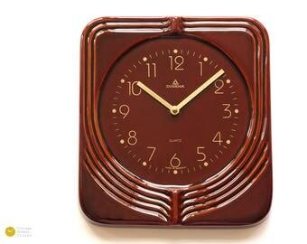 Modern ART DECO Ceramic Wall CLOCK Dugena - 70s Panton Mid Century Op Art Kitchen red Kienzle 80s